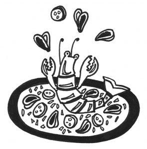 Dessin Paella repas – paëlla – le guibra – st sulpice la forêt